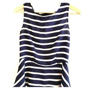 Tops - Women's blue & white peplum blouse with open back